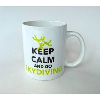 Geschenk Tasse mit Spruch: KEEP CALM AND GO SKYDIVING - 4way Team