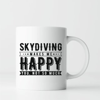 Geschenk Tasse: Skydiving makes me happy