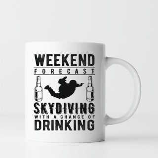 Geschenk Tasse: Weekend forecast - Skydiving with a chance of drinking